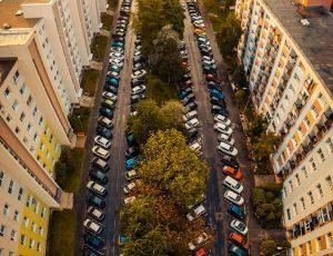 Panoramatické fotografie dronom ulice v Nitre